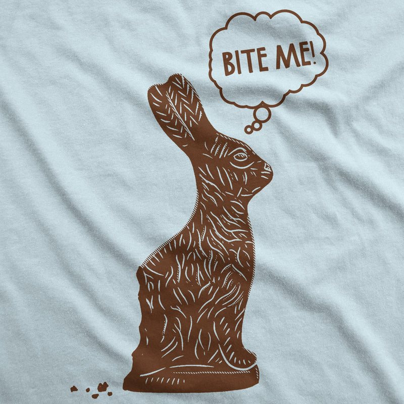 Mens Bite Me Chocolate Easter Bunny T Shirt Funny Easter Basket Tee