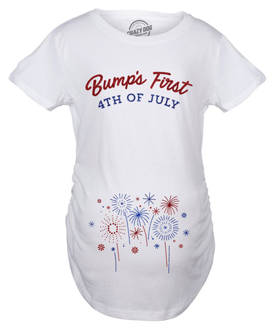 Maternity Bumps First 4th Of July Pregnancy Tshirt Funny Patriotic Tee For Baby Bump