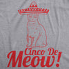 Womens Cinco De Meow Tshirt Funny Cat May 5 Mexico Sombrero Tequila Tee