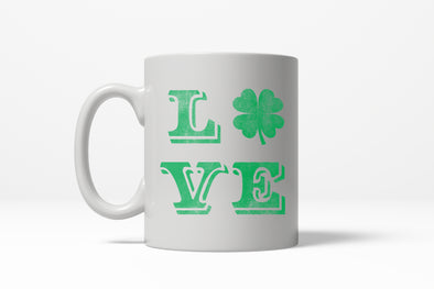 LOVE Lucky Clover Vintage Cute Irish St. Patricks Day Ceramic Coffee Drinking Mug - 11oz
