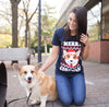 Womens Merry Corgmas Corgi Dog Ugly Christmas Sweater T shirt NAVY