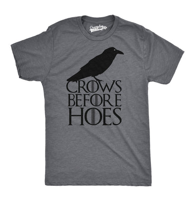 Mens Crows Before Hoes Funny T shirt for Men Vintage Novelty Hilarious Gag Gift