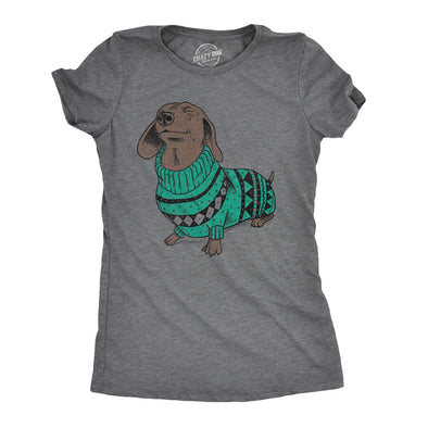 Womens Wiener Dog Ugly Christmas Sweater T shirt Dachshund Pet Owner Mom Tee