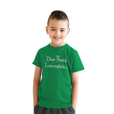 Youth Dear Santa T Shirt I Can Explain Shirt Funny Christmas Tee for Kids