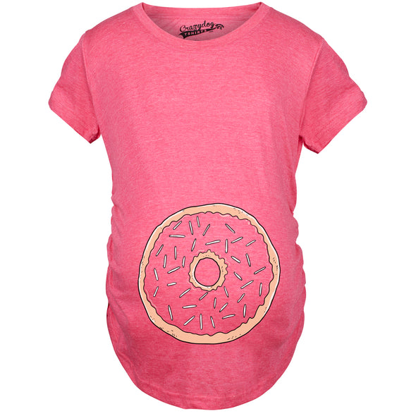 Womens Pregnancy Donut Baby Bump Cute Maternity Announcement Funny T Shirt