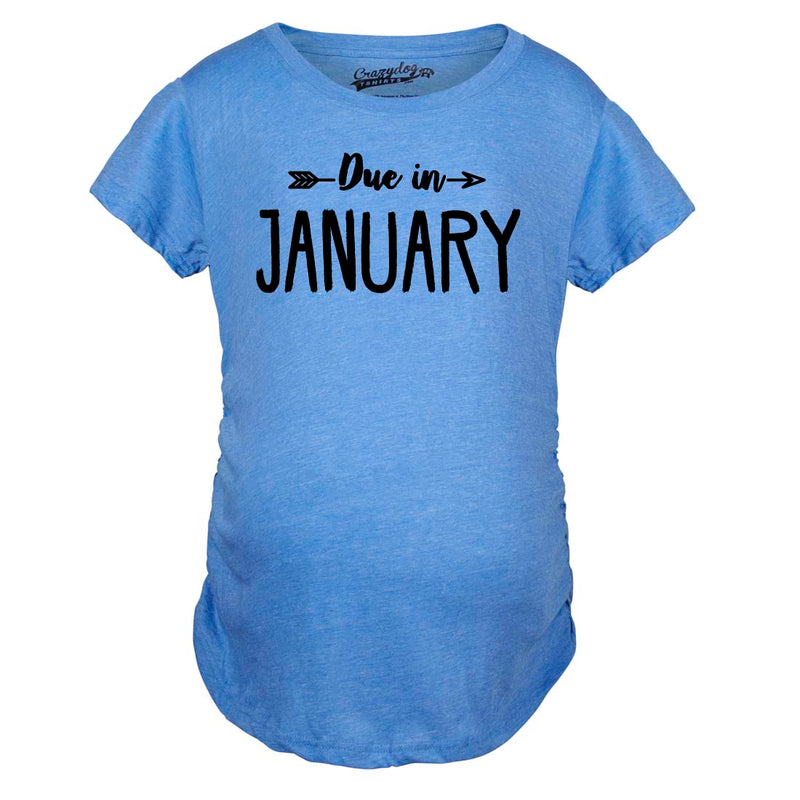 Maternity Due In January Funny T shirts Pregnant Shirts Announce Pregnancy Month Shirt