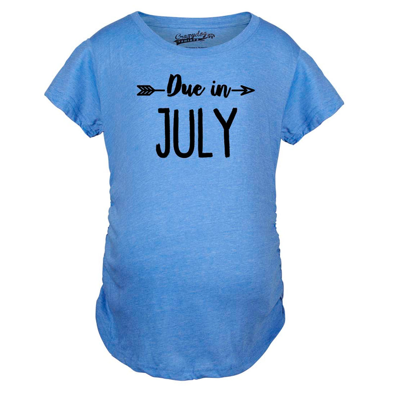 Maternity Due In July Funny T shirts Pregnant Shirts Announce Pregnancy Month Shirt