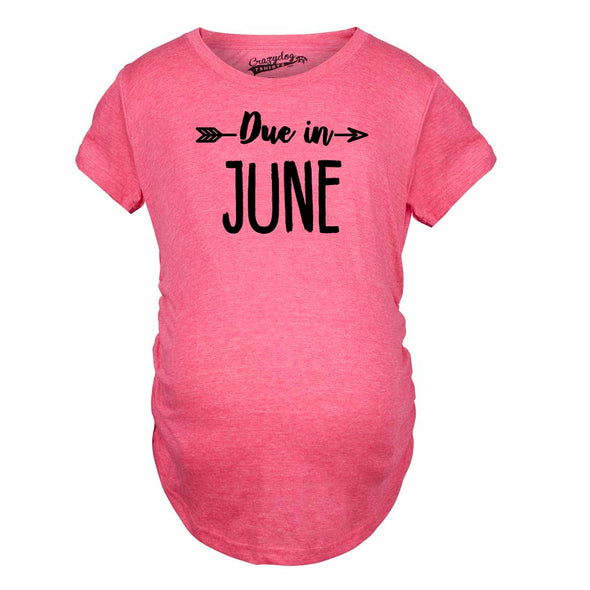 Maternity Due In June Tshirt Baby Shower Announcement Pregnancy Tee