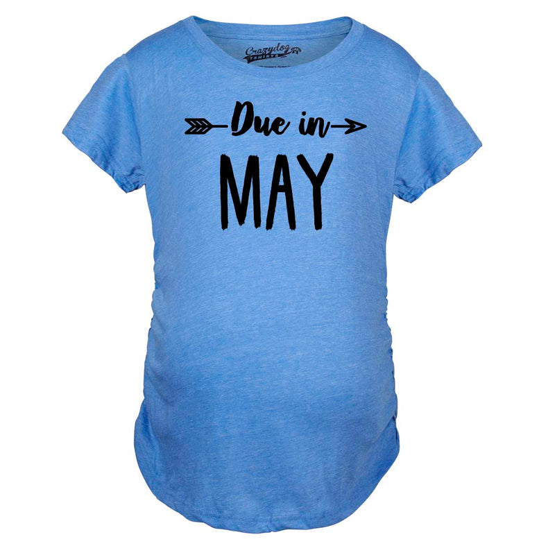Maternity Due In May Funny T shirts Pregnant Shirts Announce Pregnancy Month Shirt