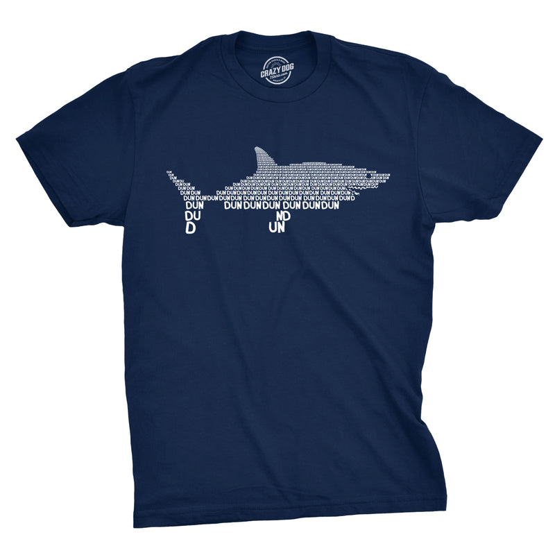 Mens Dun Dun Shark Theme T-Shirt Cool Graphic Great White Music Text Tee