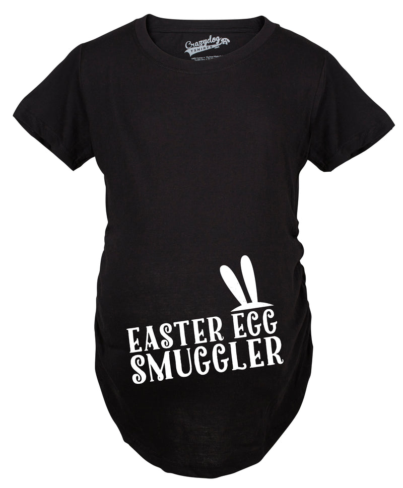 Maternity Easter Egg Smuggler Bunny Ears Spring Pregnancy Announcement T shirt