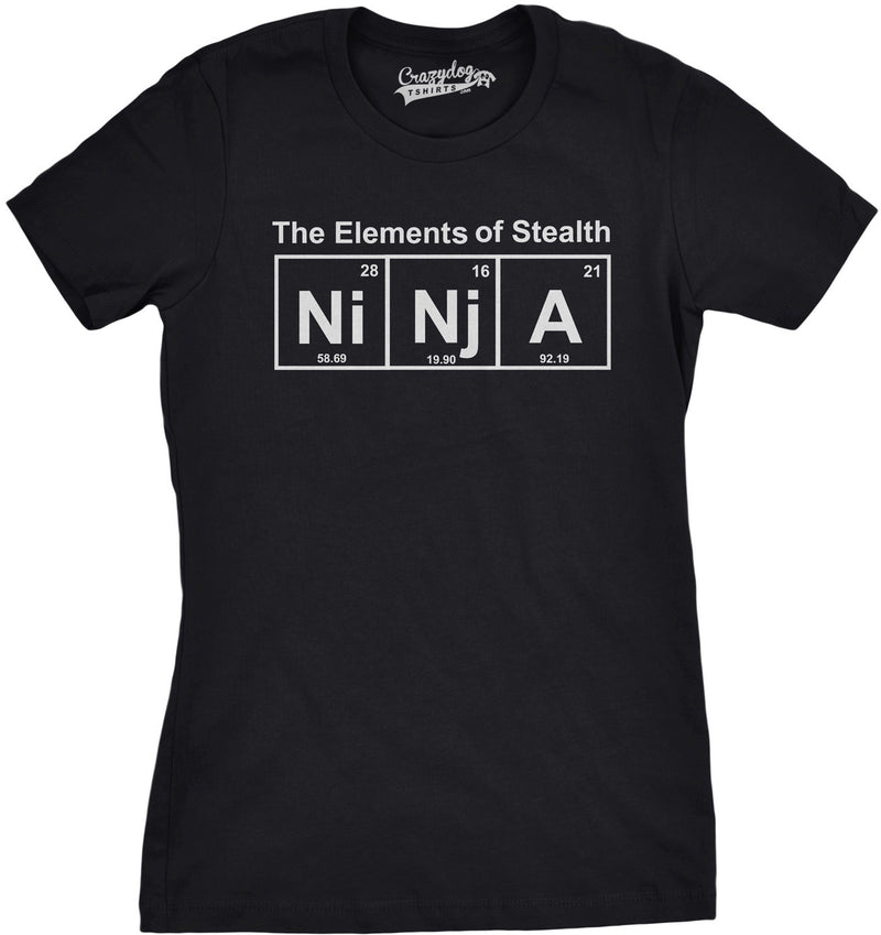 Womens Ninja Element T shirt Funny Science Warrior Novelty Mens Graphic Nerdy Tees