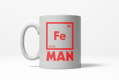 Chemical Element of Fe Man Funny Iron Science Ceramic Coffee Drinking Mug (White) - 11oz