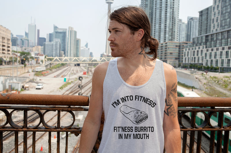 Mens Fitness Burrito Funny Gym Sarcasm Mens Humorous Novelty Tees Fitness Tank Top
