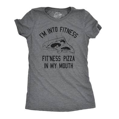 Womens Fitness Pizza In My Mouth Funny Workout Foodie T shirt
