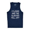Mens I Flexed and the Sleeves Fell Off Tank Top Funny Sleeveless Gym Workout Shirt