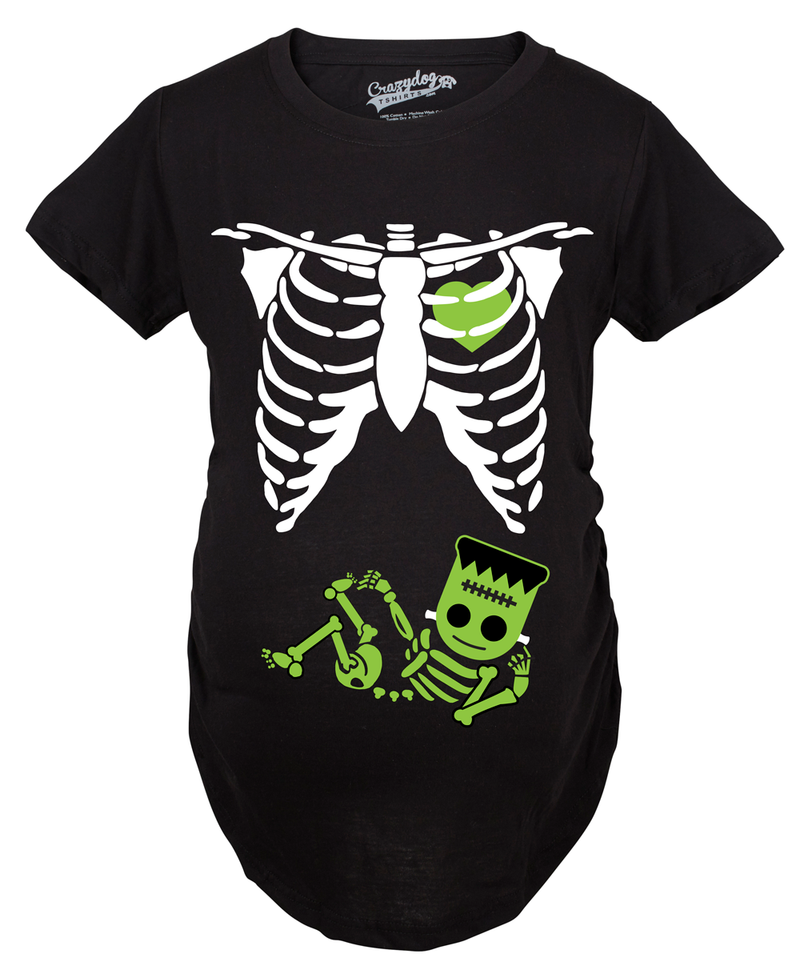 Maternity Frankenstein Baby Bump Fall Halloween Cute Pregnancy Tshirt (Black)