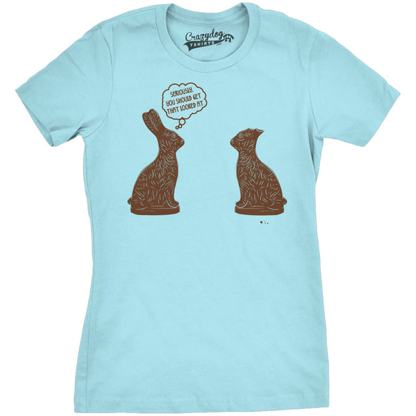 Womens You Should Get That Looked At Easter T Shirt Funny Chocolate Bunny Tee
