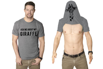 Ask Me About My Giraffe T Shirt Funny Animal Flip Cool Graphic Hilarious Tee