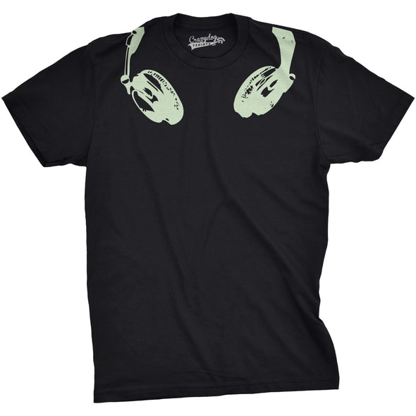 Mens Glow In the Dark Headphones T shirt Cool Music Lover DJ Funny Graphic Tee