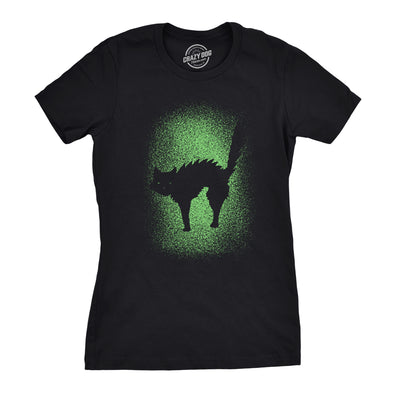 Womens Glowing Cat Glow In The Dark Cool Halloween T Shirt Funny Kitty Tee