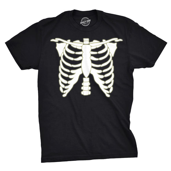Glowing Skeleton Rib Cage Halloween Men's Tshirt