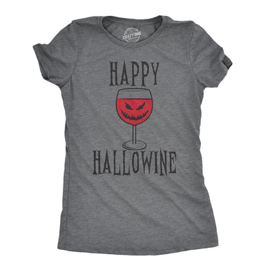 Happy Hallowine Funny Halloween Wine Glass Drinking Tshirt For Woman