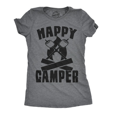 Womens Happy Camper Shirt Funny Camping Shirts Cool Vintage Tees Retro Design