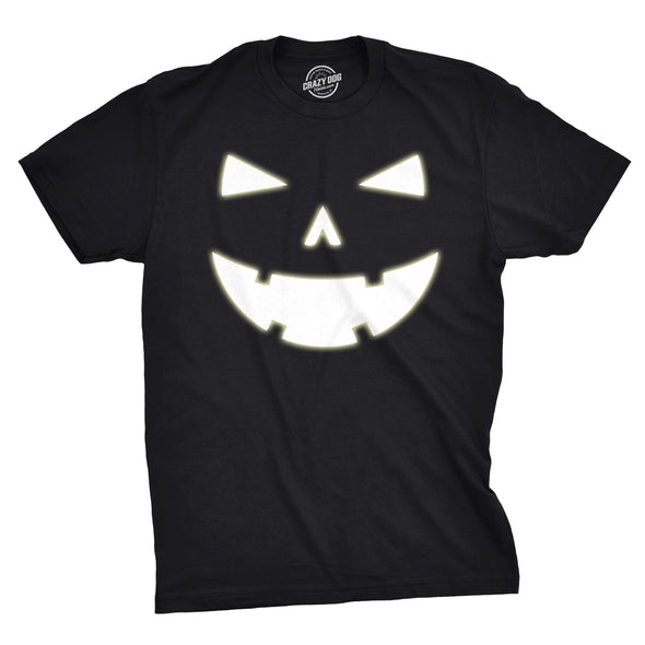 Mens Happy Tooth Glowing Pumpkin Face Glow In The Dark Halloween Tee