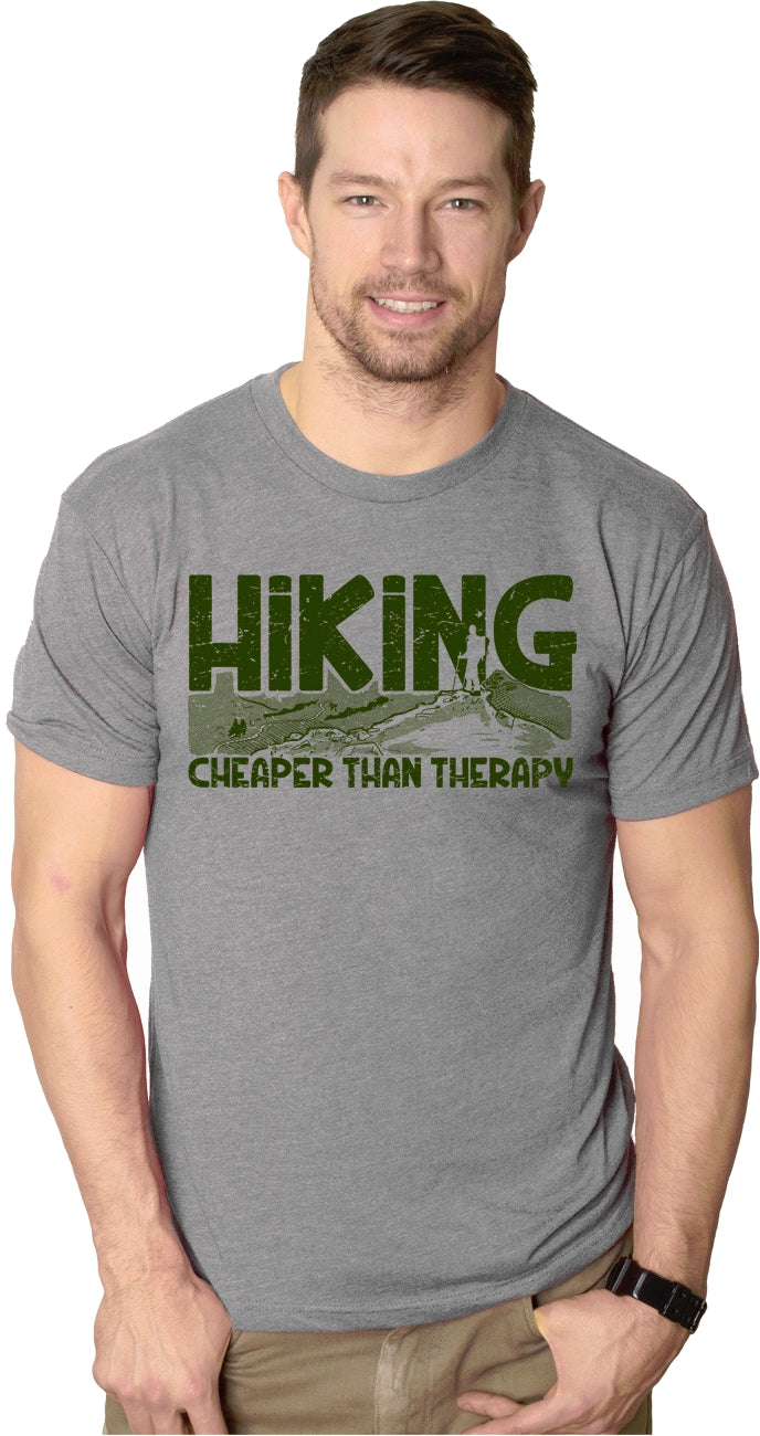 Mens Hiking Cheaper Than Therapy Funny Camping Outdoor Summer T shirt