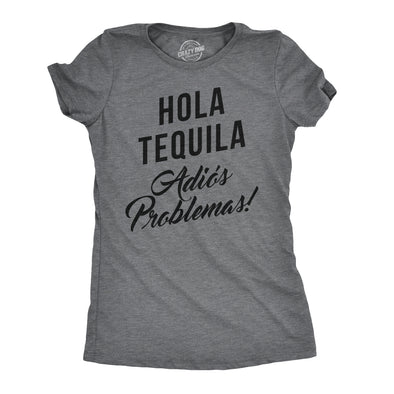 Womens Hola Tequila Adios Problemas Funny Shirts Hilarious Vintage Novelty T shirt