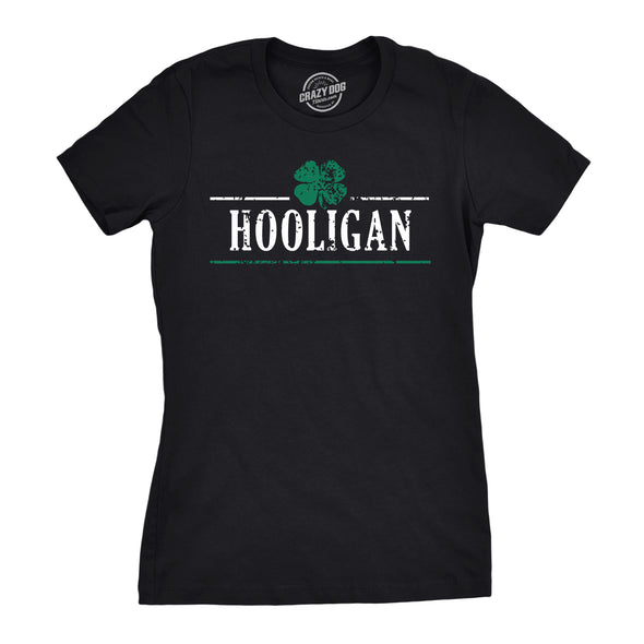 Womens Irish Clover Hooligan Funny St Pattys Patricks Day Cute Drinking T Shirt