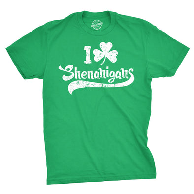 Mens I Clover Shenanigans T Shirt Funny Irish Clover St Saint Patricks Day Tee