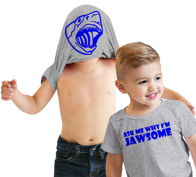 Toddler Ask Me Why Im Jawsome Jaws Shark Flip Up T shirt for Kids