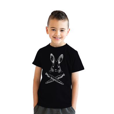 Youth Jolly Roger Easter T Shirt Funny Pirate Bunny Flag Egg Hunt Tee for Kids
