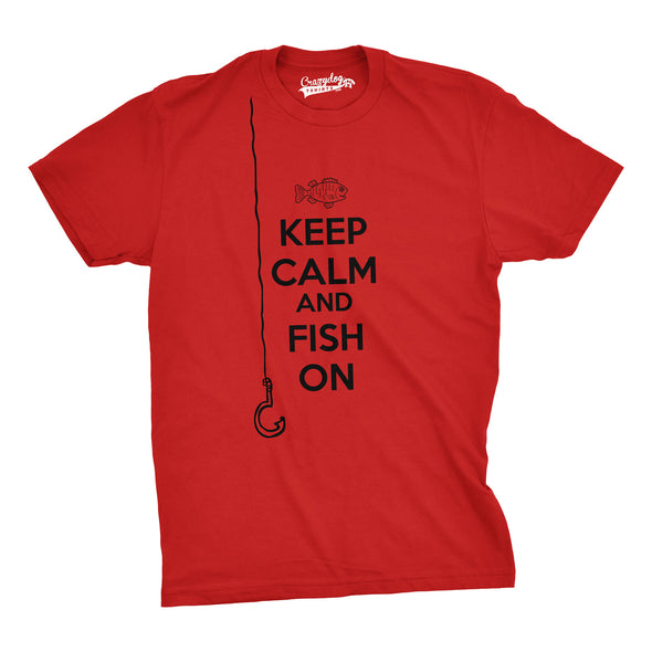 Mens Keep Calm And Fish On T Shirt Funny Tshirt Fisherman Tee Going Fishing