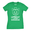 Womens Leprecat Loves Shenanigans Funny Irish Cat Saint Patricks Day T Shirt