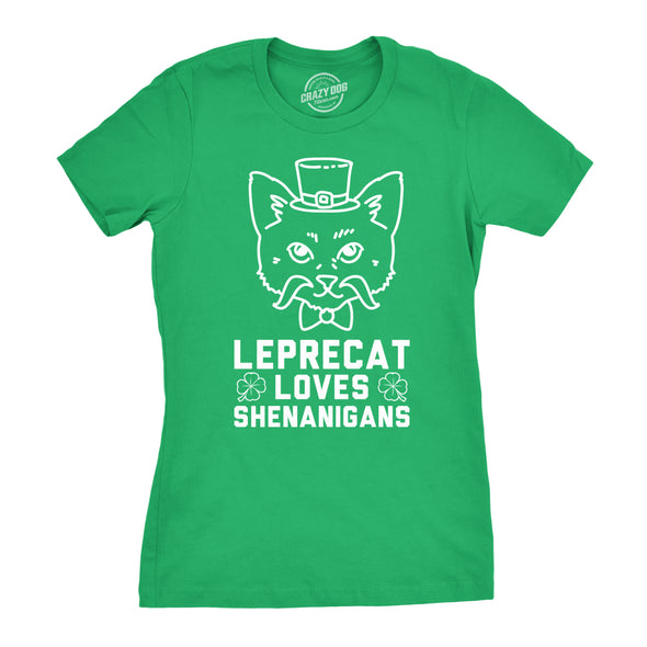 Womens Leprecat Loves Shenanigans Funny Irish Cat Lover St. Patrick's T shirt