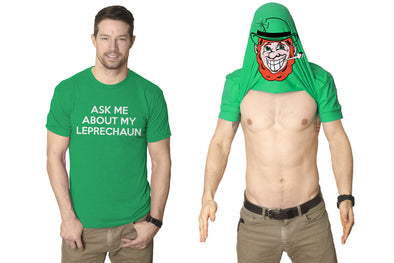 Ask Me About My Leprechaun Flip Men's Tshirt