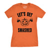 Womens Lets Get Smashed Funny T shirts Pumpkin Halloween Costume T shirt