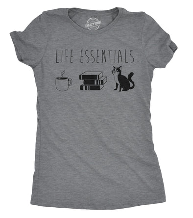 Womens Life Essentials T shirt Funny Coffee Cat Mom Lover Cute Graphic Ladies