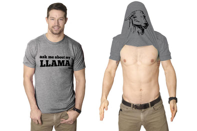 Ask Me About My Llama Flip Men's Tshirt