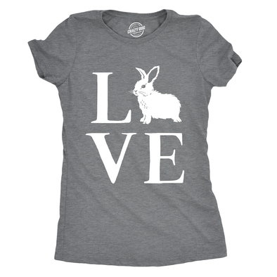 Womens Love Bunny Tshirt Cute Adorable Easter Sunday Rabbit Tee For Ladies