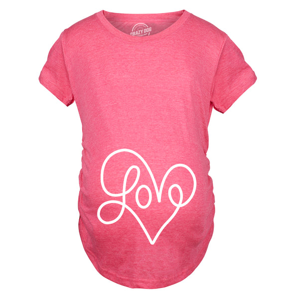 Maternity Love Script Heart Tshirt Cute Adorable Valentines Day Pregnancy Tee