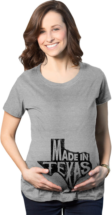 Maternity Made In Texas T-Shirt Funny Hometown Pregnancy Announcement Tee