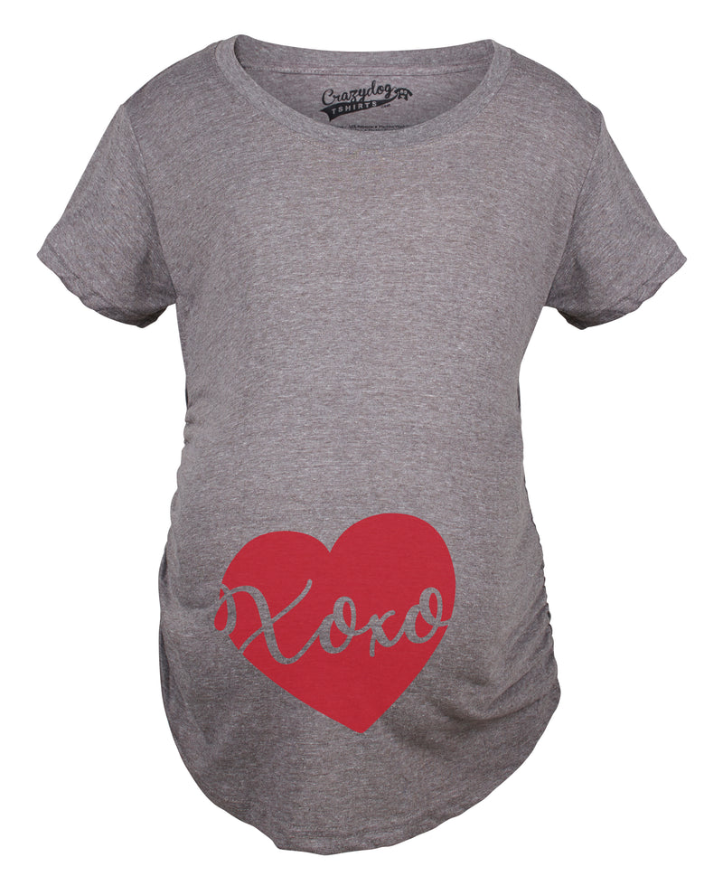 Maternity Xoxo Script Heart Valentines Day Pregnancy Announcement T shirt