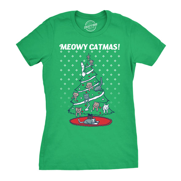 Womens Meowy Christmas Cat Shirt Tree Ugly Merry Crazy Funny Gift Sweater GREEN
