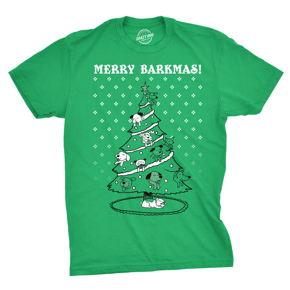 Mens Merry Barkmas Funny Dog Lover Christmas Tree Holiday T shirt