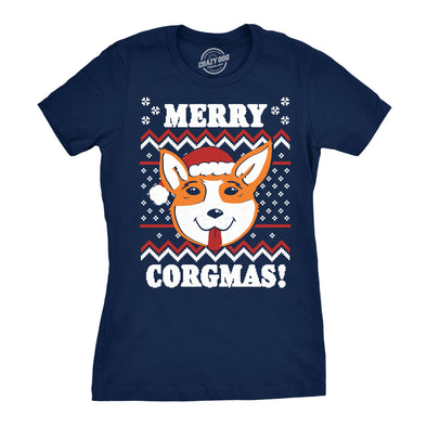 Womens Merry Corgmas Corgi Dog Mom Ugly Christmas Sweater Gift T shirt Funny