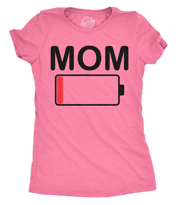 Womens Mom Battery Low Funny Sarcastic Graphic Tired Parenting Mother T shirt